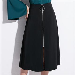 时尚潮拉链装饰韩版OL职业A字高腰半身裙
