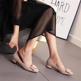 新款低跟方头浅口单鞋 方扣粗跟绒面职业女鞋