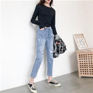 时尚简单美自带修腿功能九分直筒破洞牛仔裤