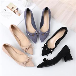 新款春季尖头粗跟浅口单鞋时尚清新小跟鞋