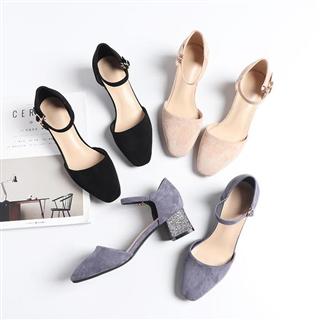 新款绒面方头粗高跟中空单鞋韩版网红鞋