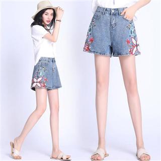 时尚韩版绣花高腰修身休闲短裤