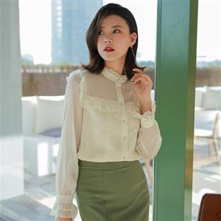 时尚宽松洋气长袖蕾丝雪纺衬衫