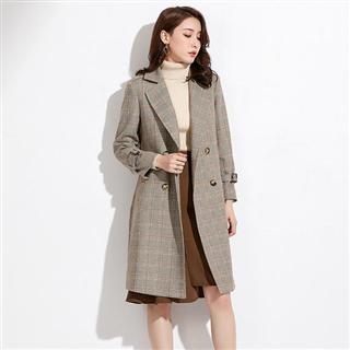 韩版直筒格子系腰带西装领中长款风衣