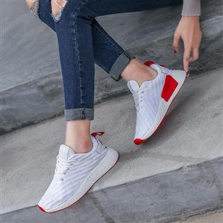 新款网面浅口休闲百搭小白鞋 平底跑步鞋女鞋