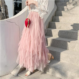 新款高腰中长款网纱半身裙ins超火仙女裙不规则蛋糕裙