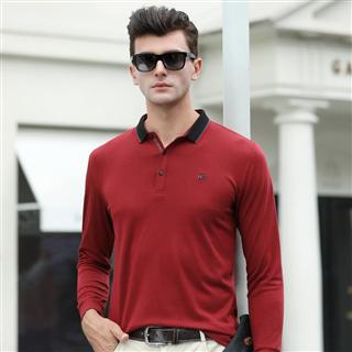 99包邮长袖T恤 男士翻领2019春季新款纯色粘纤天丝棉T恤衫中青年Polo衫男装