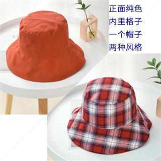 新款韩版双面格子布艺休闲可折叠盆帽